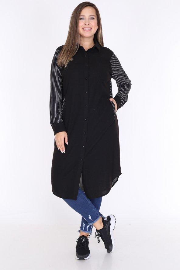 Schık Kadın Büyük Beden Çizgili Gömlek Elbise Siyah 1596