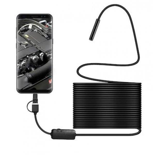 Olix Endoskop Yılan Kamera 6 Ledli Işıklı Su Geçirmez Sert Kablolu 10 Metre