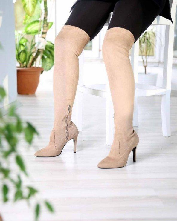 Margot Vizon Süet İnce Topuk Fermuarlı Streç Kadın Çizme