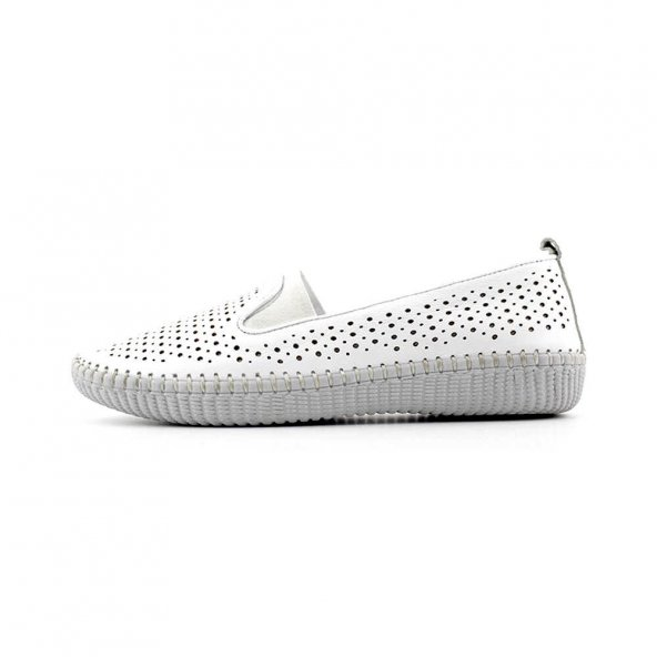 Pepita 7283 Hakiki Deri Kadın Ayakkabı-Beyaz
