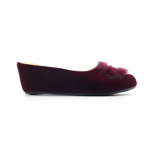 Muya 96236 Kapalı Kadın Ev Ayakkabısı-Bordo
