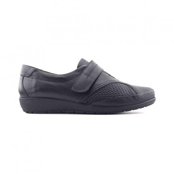 Evida 2589 Hakiki Deri Kadın Ayakkabı-Siyah