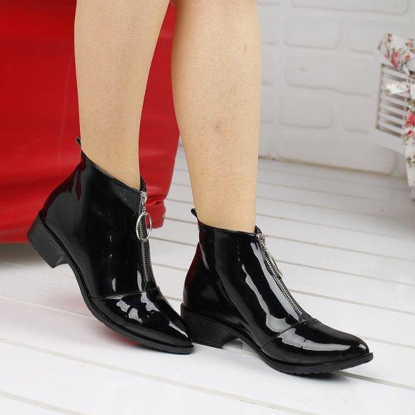 Ayakland 622 Günlük Fermuarlı Bayan Rugan Bot Ayakkabı SİYAH