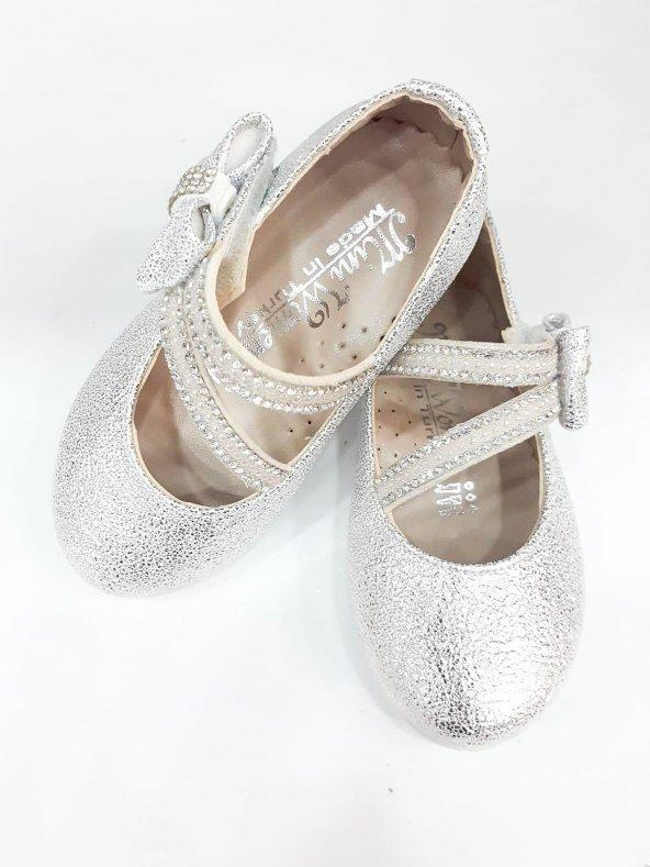 MiniWomen002 Günlük Ortopedik Abiye/Babet KızÇocuk Ayakkabıları Gümüş