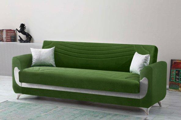 Kardelen Modern Kanepe - Yeşil (Sandıklı ve Yataklı)