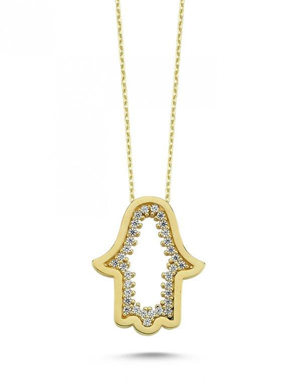 Fatma Ana Eli 14 Ayar Altın Kolye-INT-ZN63