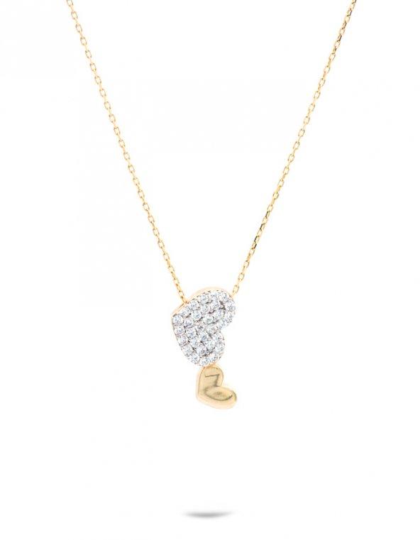 İkili Kalp 14 Ayar Altın Kolye-M-ZN2202