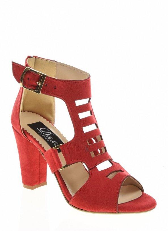 20332Kırmızı Süet Bayan Topuklu Ayakkabı