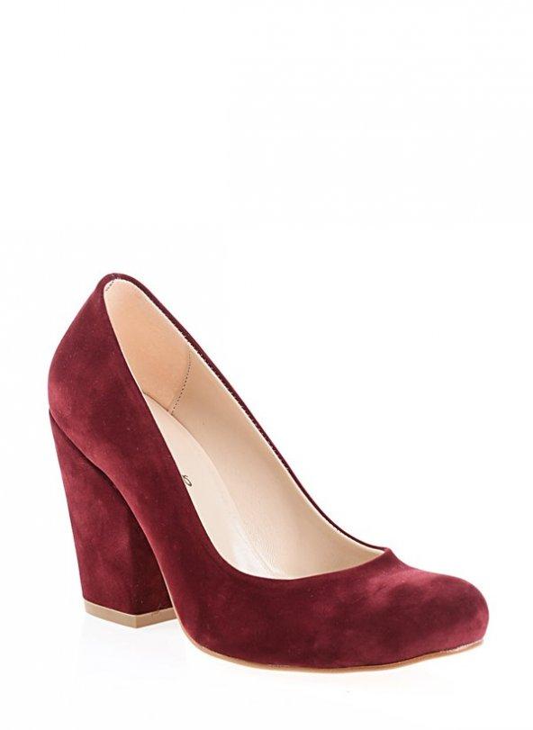 2818192BORDO SÜET BAYAN Klasik Topuklu Ayakkabı