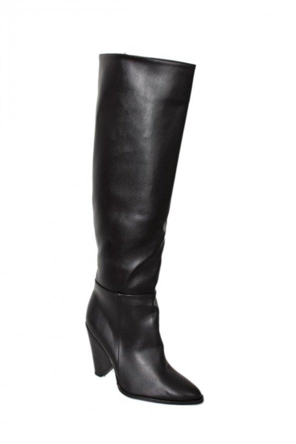 19529Siyah Cilt Kadın Topuklu Çizme