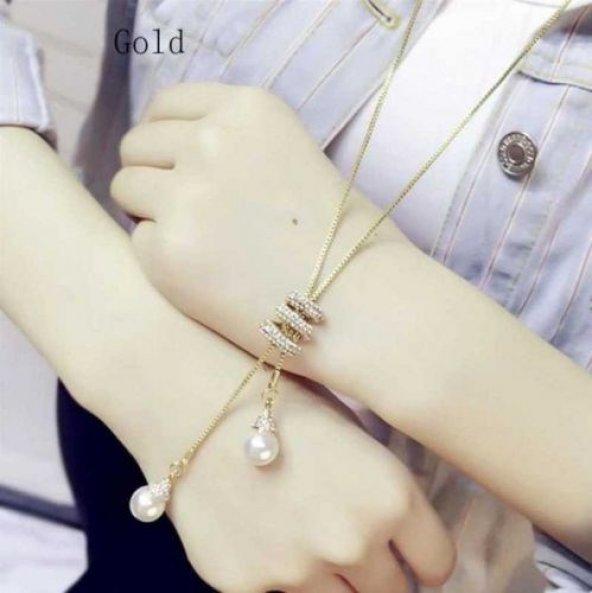 Altın Kuğu Ak 00653 Uzun Püskül İnci Uçlu Kolye Gold