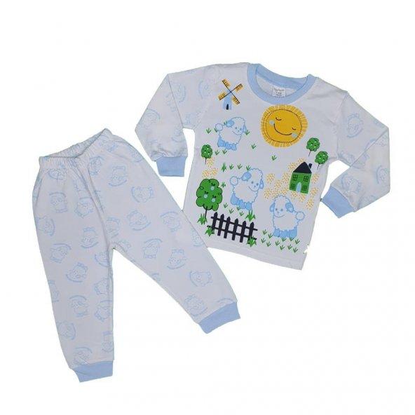 Kız-Erkek Bebek Koyun Modelli Pijama Takımı