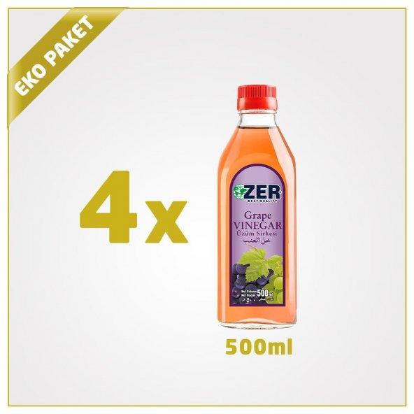 Zer Üzüm Sirkesi 500 ml x 4 Cam Şişe