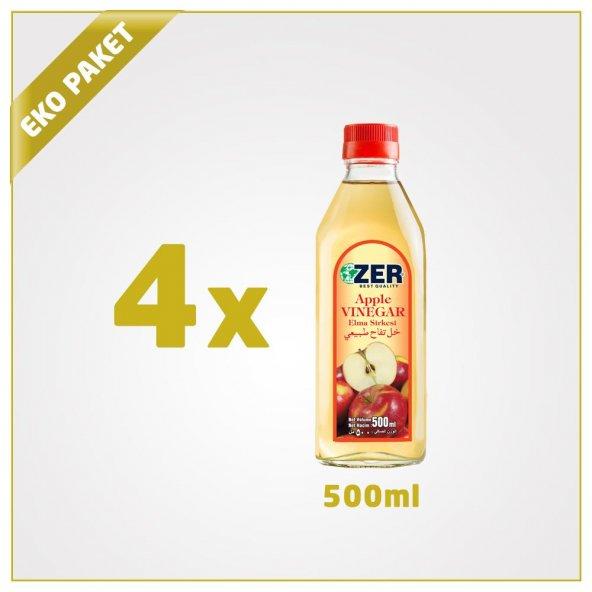Zer Elma Sirkesi 500 ml x 4 Cam Şişe