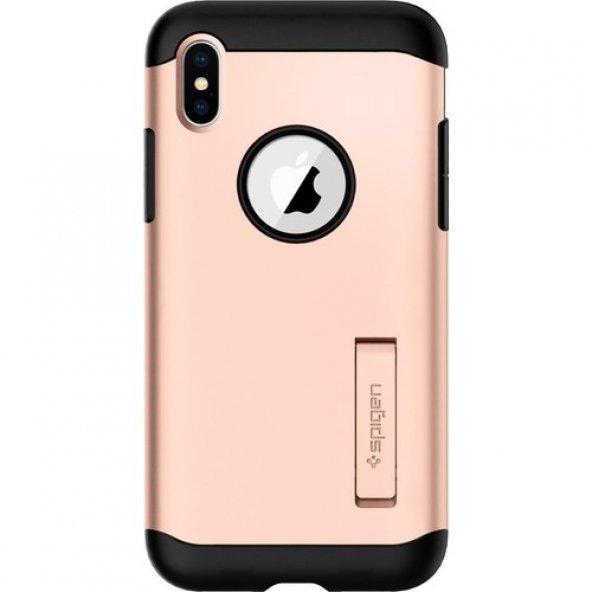 Spigen Apple iPhone X Kılıf Slim Armor Blush Gold - 057CS22140