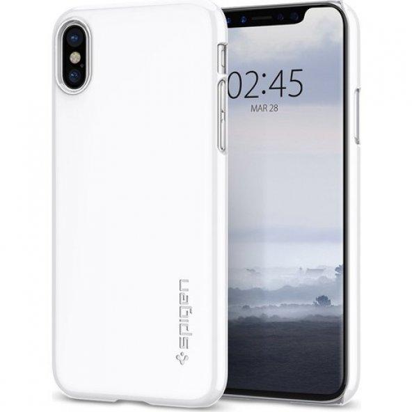 Spigen Apple iPhone X Kılıf Thin Fit Ultra İnce White - 057CS2211