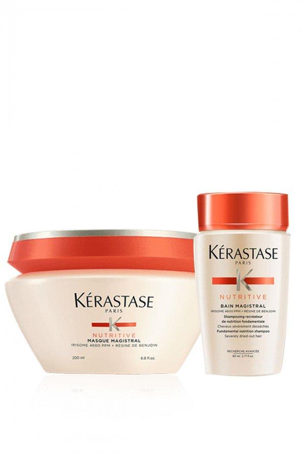 Kerastase Isı İle Aktifleşen Saç Maskesi - Nutritive Masque Magistral 200 ml+ Nemlendirici Şampuan - Nutritive Bain Magistral 80 ml