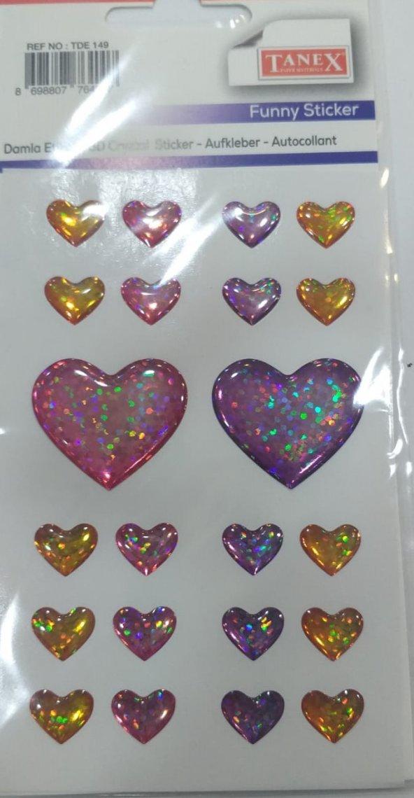 Tanex TDE-149 Stickers Damla Yıldız Mıx Çıkartma, 22'li Paket