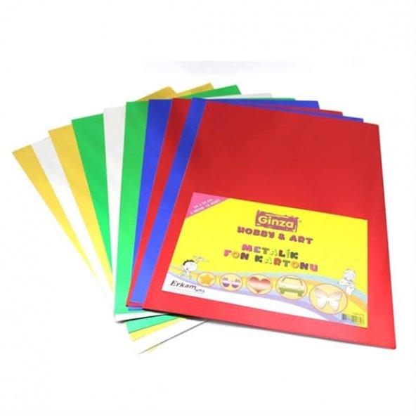 Ginza Metalik Fon Kartonu A4 5 Renk - 10 Adet