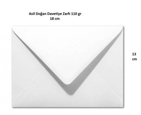 Davetiye Zarfı 13x18 cm 110 gr Extra, 100 Adet