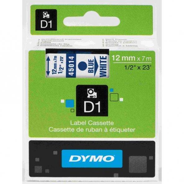Dymo D1 45014 Yedek Şerit 12mm x 7mm Beyaz-Mavi