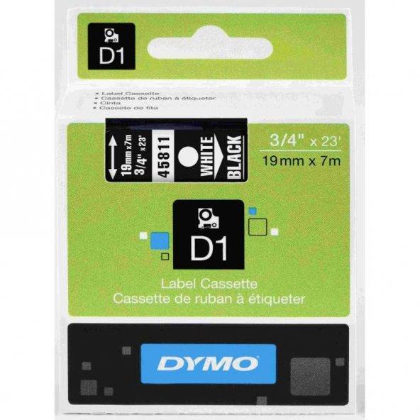 Dymo D1 45811 Yedek Şerit 19mm x 7mm Siyah-Beyaz
