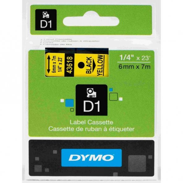 Dymo D1 43618 Yedek Şerit 6mm x 7mm Sarı-Siyah