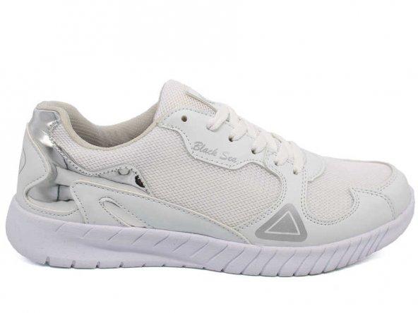 Black Sea Günlük Spor Ayakkabı Bayan Beyaz Gümüş