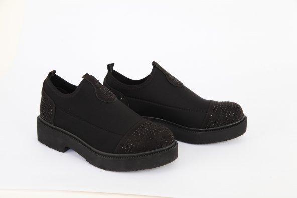 Dalgıç Kumaş Taş Detay Kadın Günlük Ayakkabı Siyah
