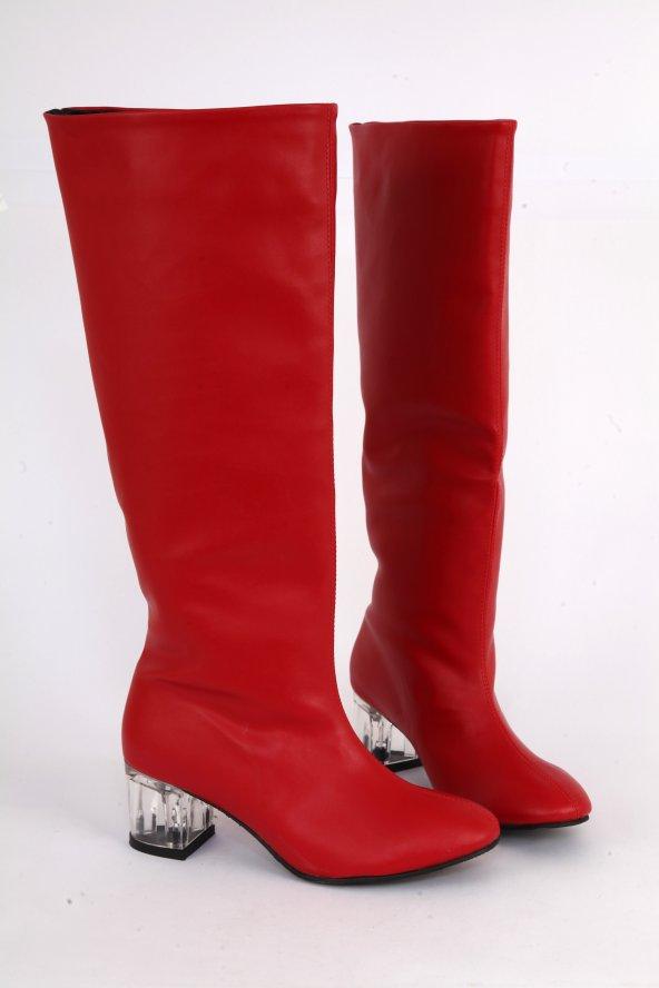 Mat Deri Şeffaf Kısa Topuk Yuvarlak Burun Diz Altı Çizme Kırmızı