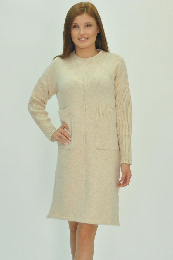 Kadın Uzun Kollu Mini Triko Elbise