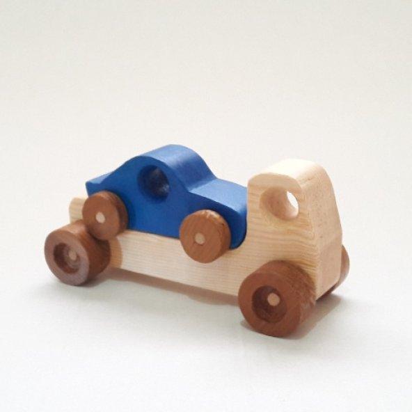 Yavrulu Ahşap Oyuncak Araba-Mavi