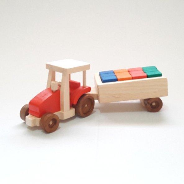 Renkli Ahşap Yapı Bloklu Oyuncak Traktör - Kırmızı