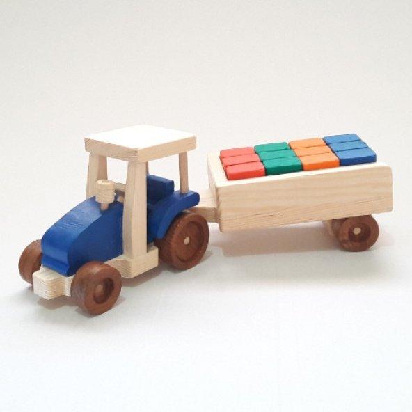 Renkli Yapı Bloklu Ahşap Eğitici Oyuncak Traktör - Mavi