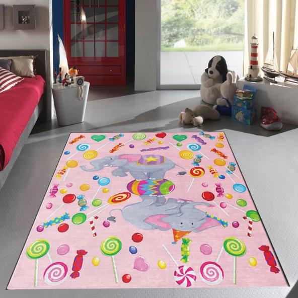 Kidszone Antialerjik Çocuk Halısı 109 Candy Desen Pembe