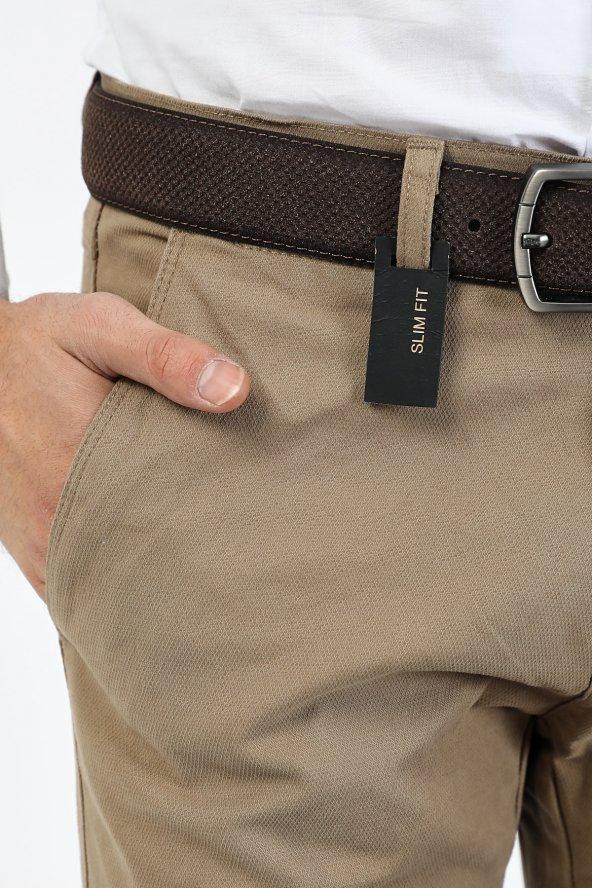 CORRANO Erkek Slim Fit Smart Chino Pantolon bej renk