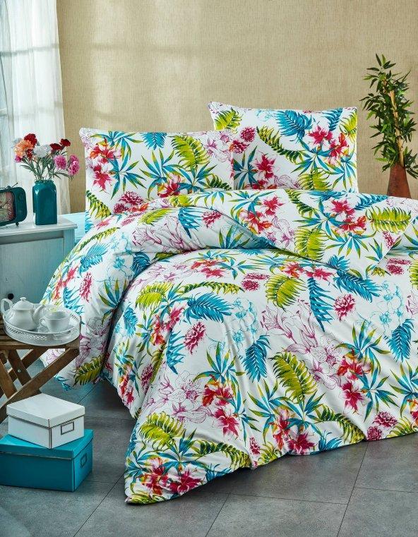Nevresim Takımı - Poplin - Soft Renkler - %100 Pamuk  - Çift Kişilik - ŞirinEv - Palmiye