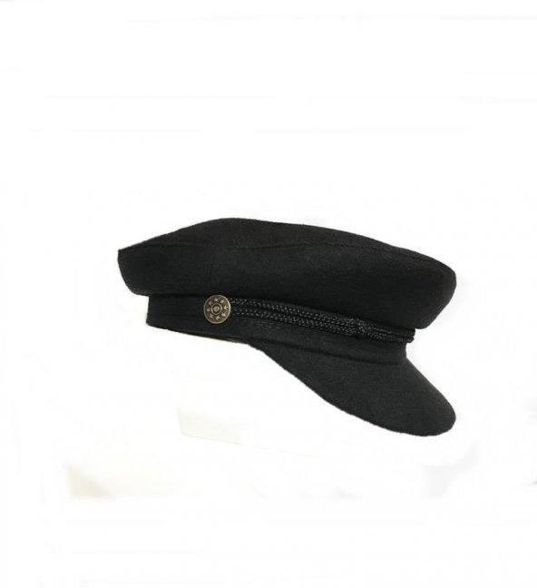 Moda Kadın  Siyah Kaptan Şapkası