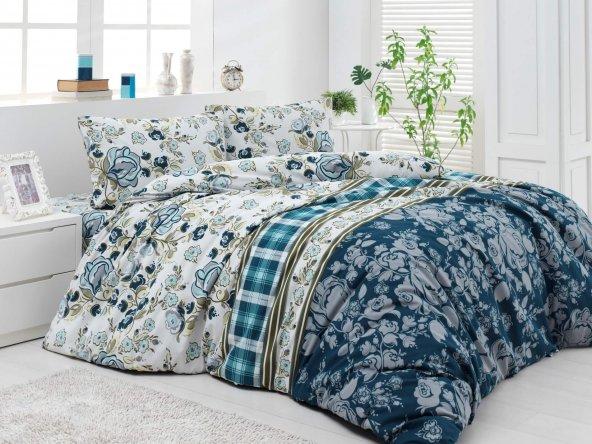 Nevresim Takımı - Cotton Touch Creton - %100 Pamuklu Çift Kişilik - Mery Turkuaz