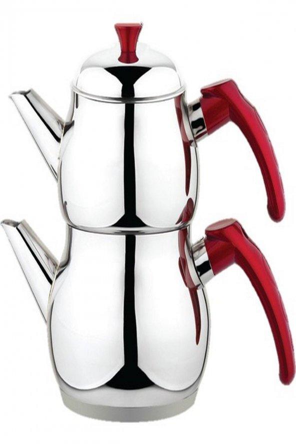 Besa Kırmızı Mini Boy Süzgeçli Çelik Çaydanlık