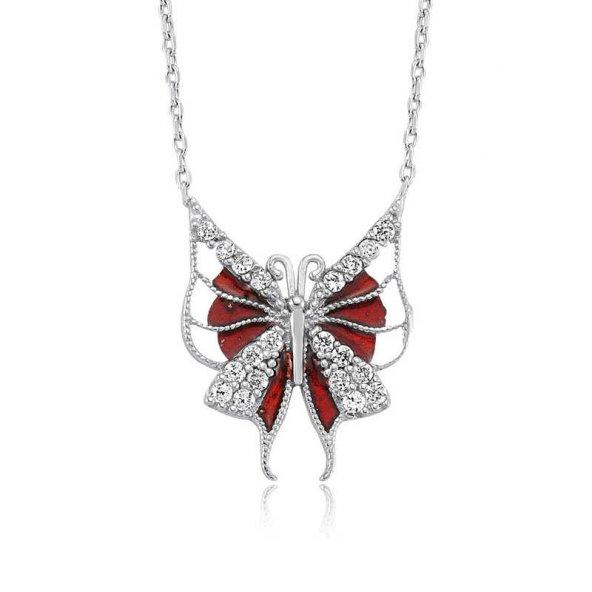 Gümüş Kırmızı Kelebek Bayan Kolye