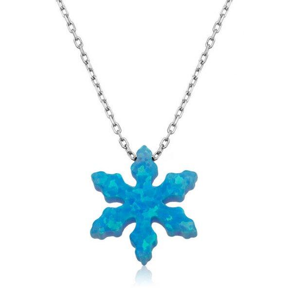 Gümüş Mavi Opal Taş Kar Tanesi Bayan Kolye