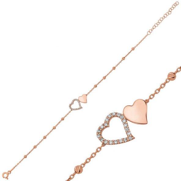 Gümüş Dorissa İki Kalp Bayan Bileklik