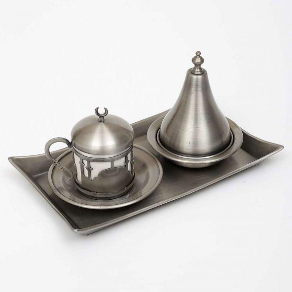 Eskitme Gümüş İstanbul Kahve Takımı