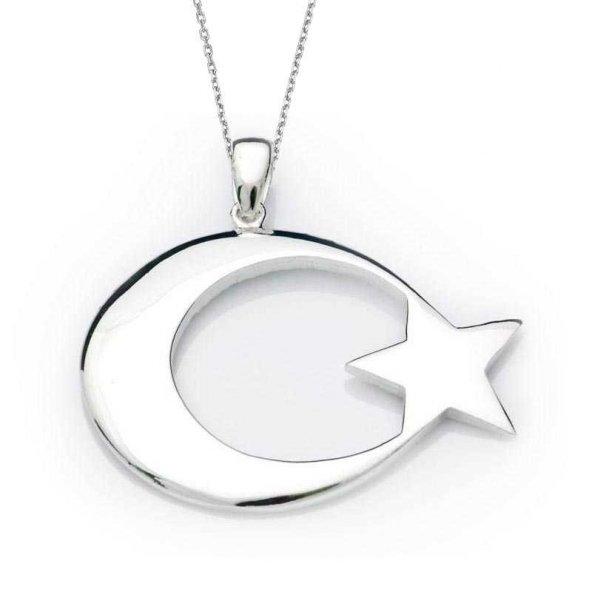 Gümüş Ay Yıldız Bayrak Kolye
