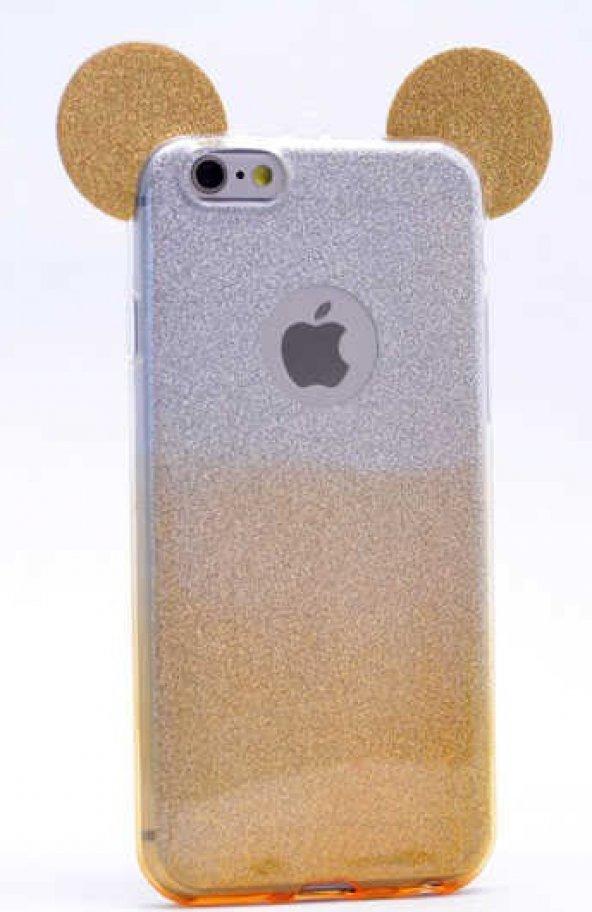 Apple iPhone 6 Kılıf Zore Micky Kulaklı Simli Silikon