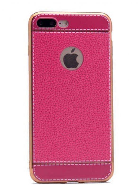 Apple iPhone 7 Plus Kılıf Zore Deri Lazer Kaplama Silikon