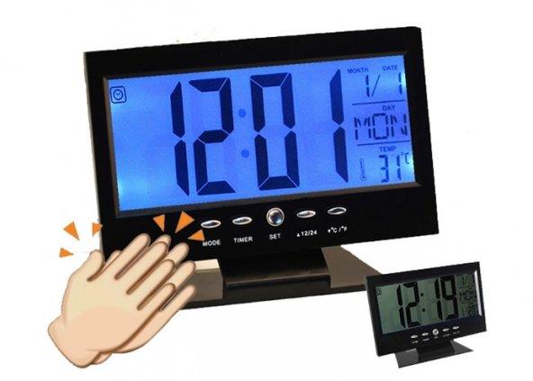 Alkış Sensörlü LED Dijital Masa Saati (Alarm+Termometre)