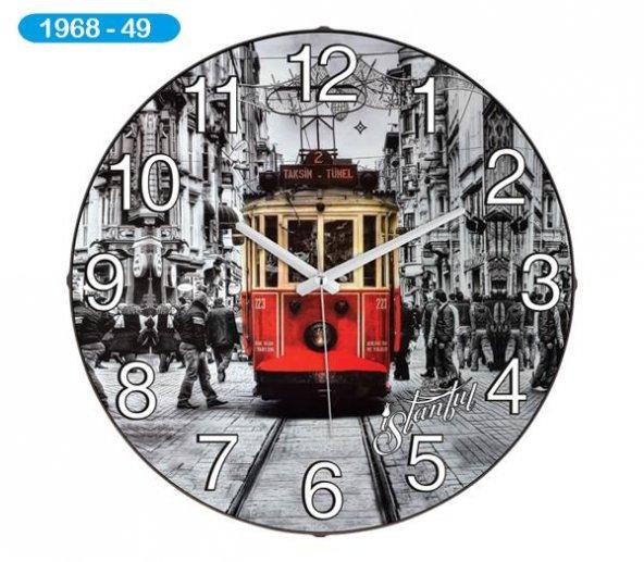 Dekoratif Bombeli Cam Duvar Saati 1968-049 - Beyoğlu