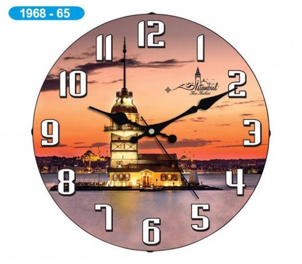Dekoratif Bombeli Cam Duvar Saati 1968-065 - Kız Kulesi
